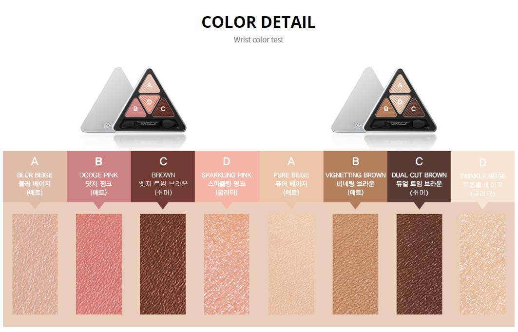 Bảng Màu Mắt 4 Ô Make Heal Hidden Triangle Palette - 32