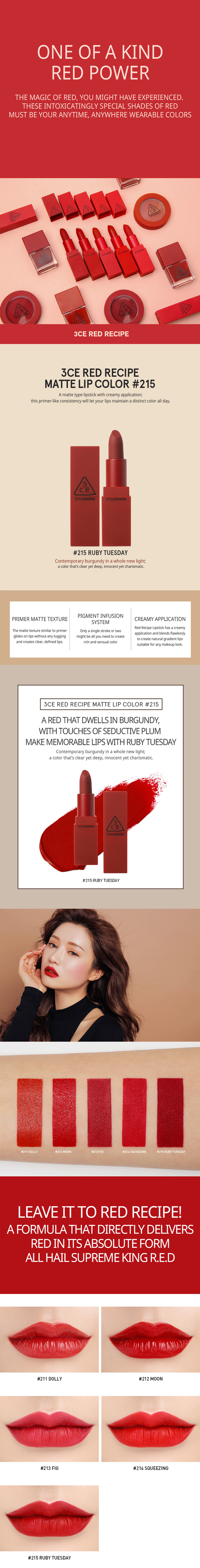 3ce Red Recipe Matte Lip Color