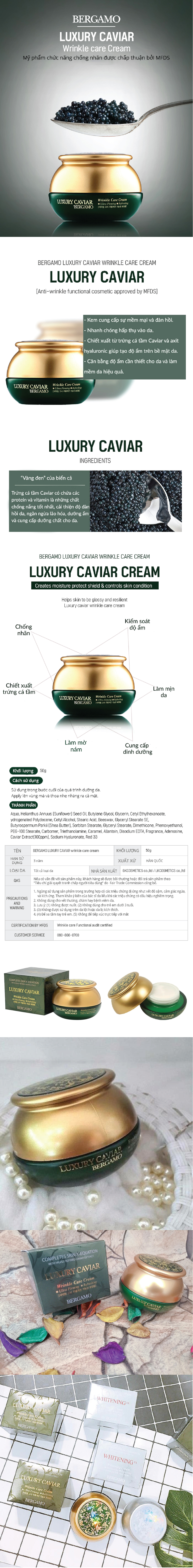 Bergamo Luxury Caviar Wrinkle Care Cream