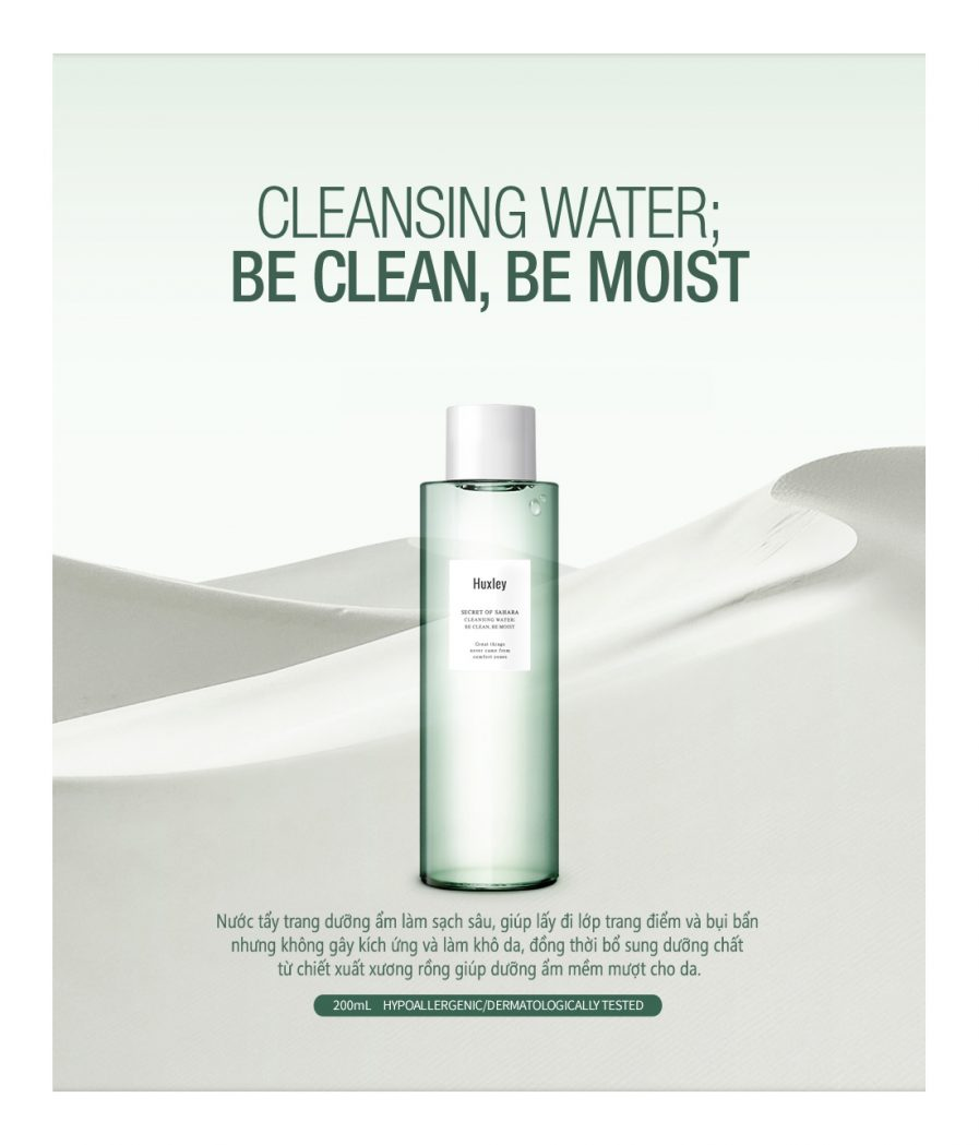 Nước Tẩy Trang Huxley Cleansing Water; Be Clean, Be Moist
