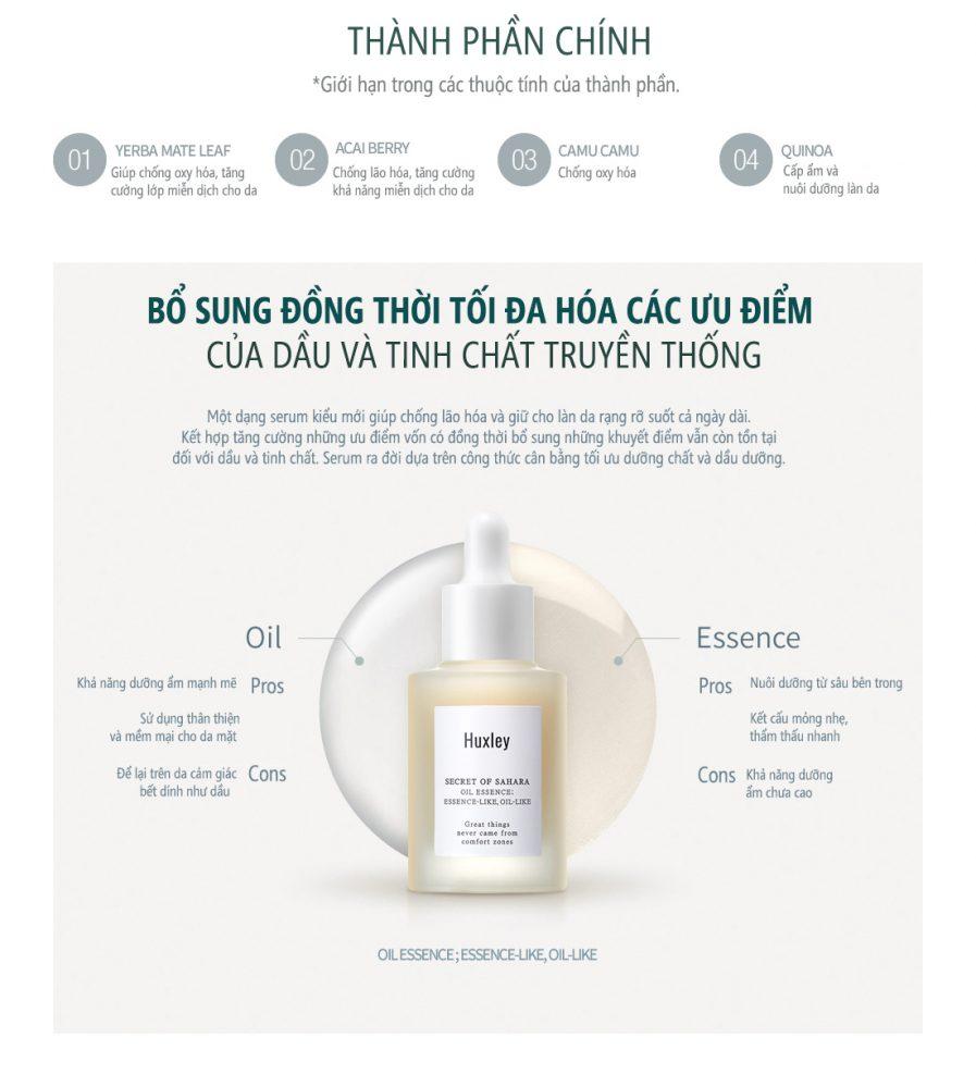 Thành phần Serum Dưỡng Huxley Secret Of Sahara Essence Oil