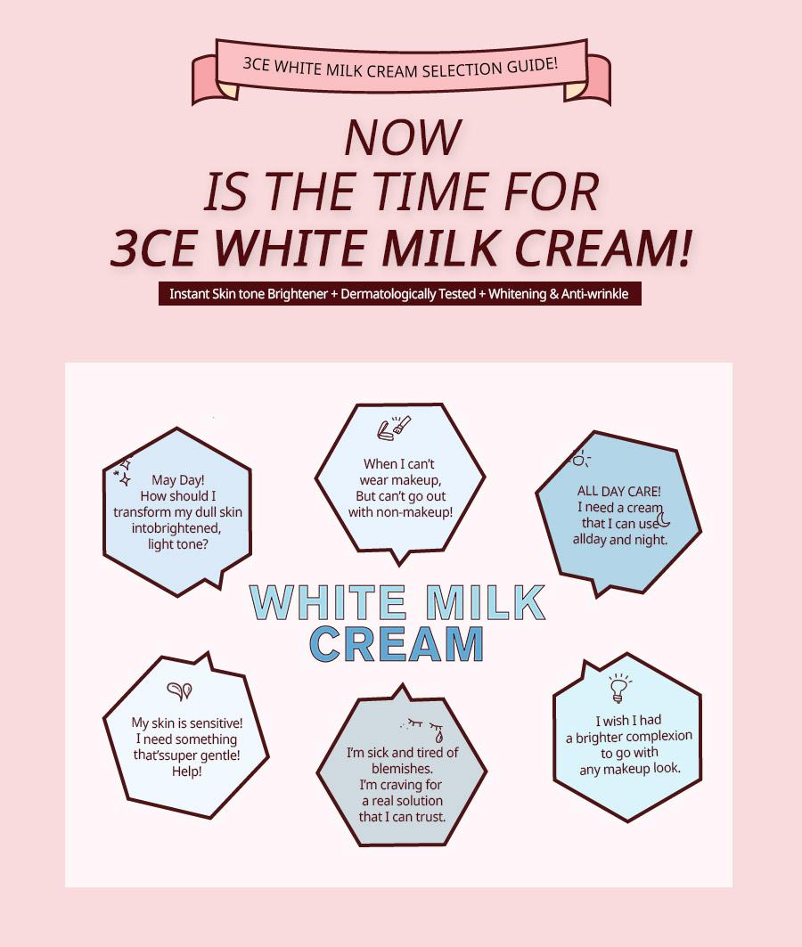 Kem Dưỡng Trắng 3CE White Milk Cream