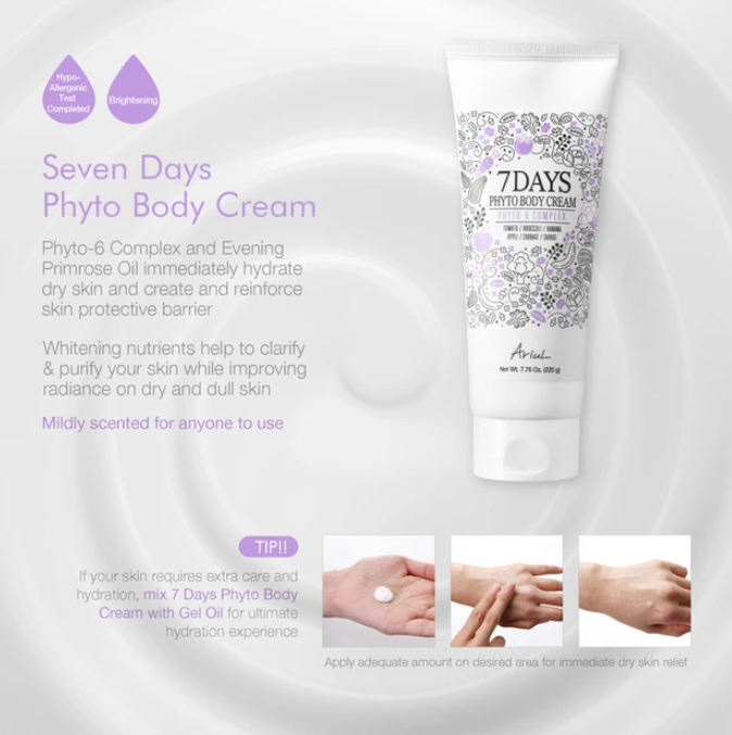 Kem Duong Da Toan Than Ariul 7 Days Phyto Body Cream Lotion With Evening Primrose Oil 7.76 Oz
