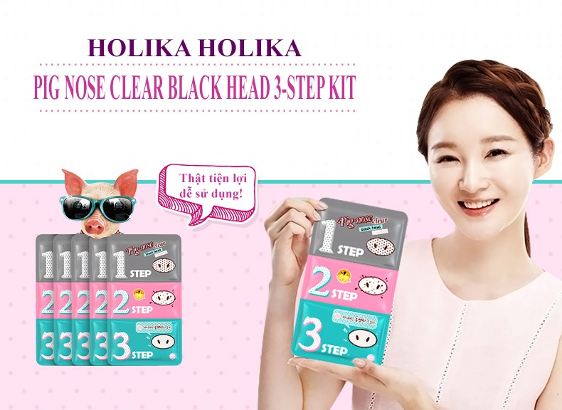 Lột Mụn Đầu Đen 3 Bước Holika Holika Pig Nose Clear Black Head 3-Step Kit