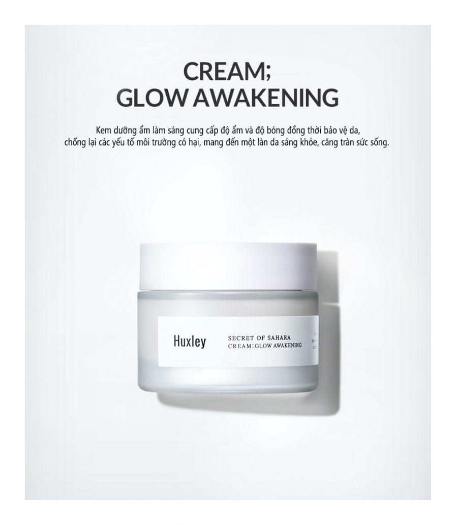 giới thiệu Kem Dưỡng Trắng Căng Bóng Huxley Cream Glow Awakening