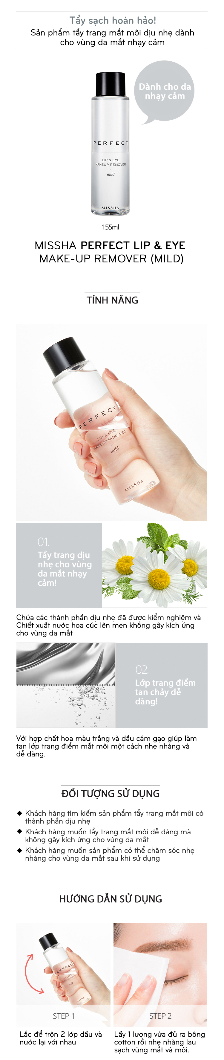Nước Tẩy Trang Mắt Môi MISSHA Perfect Lip & Eye Make-Up Remover 155ml