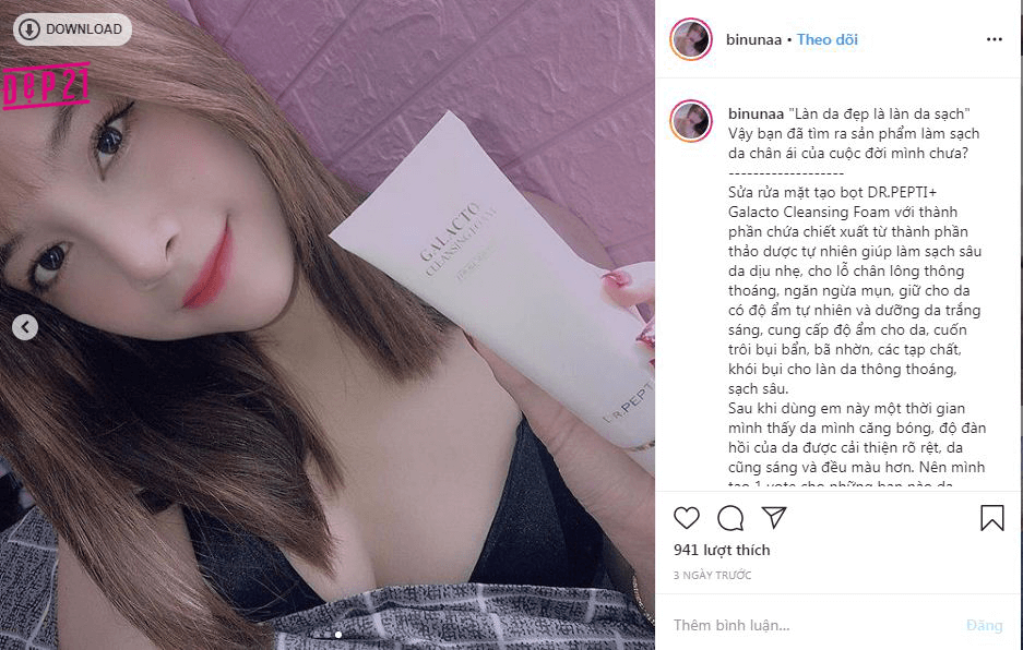 Review sữa rửa mặt của Dr.Pepti+