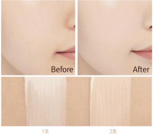 Trước và sau khi sử dụng Cushion Missha M Magic