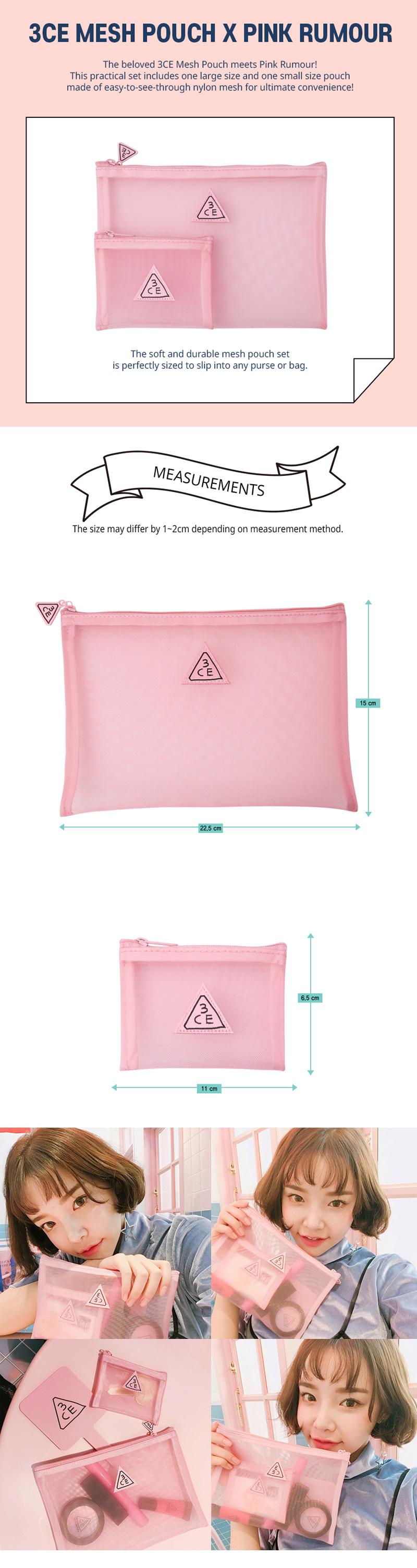 Túi Đựng Mỹ phẩm 3CE Pink Rumour Mesh Pouch