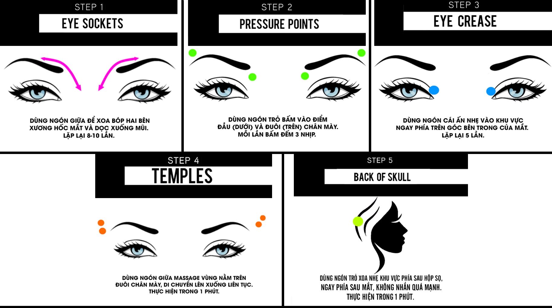 Massage mắt đúng cách hàng ngày